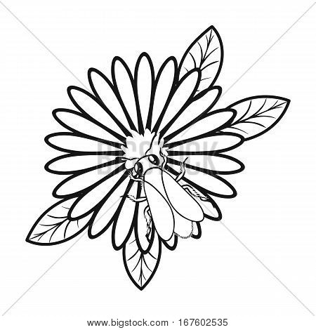 Bee on the flower icon in outline style isolated on white background. Apairy symbol vector illustration - stock vector