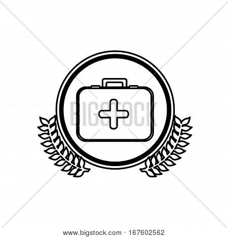 monochrome circle with firts aid kit with symbol of cross with olive branches vector illustration