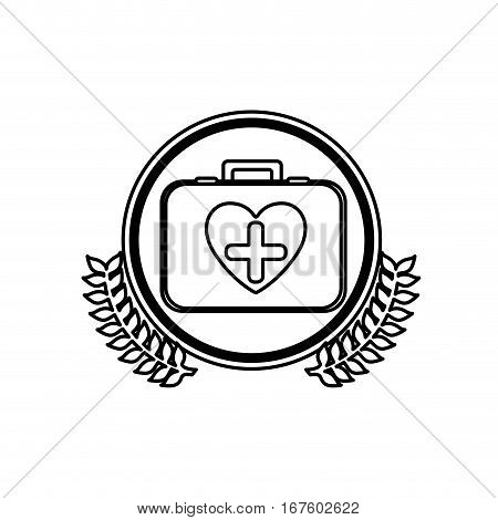 monochrome firts aid kit with symbol cross in heart in circle with olive branchs vector illustration