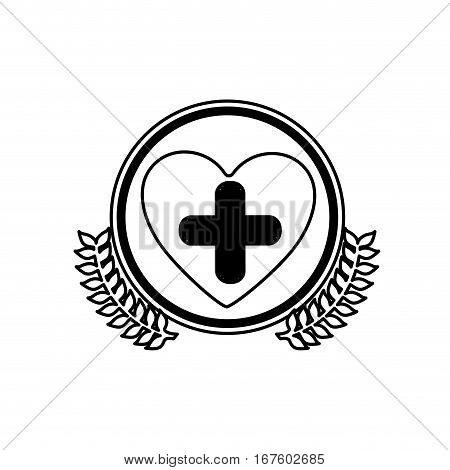 monochrome circle with olive branches and symbol cross in heart vector illustration