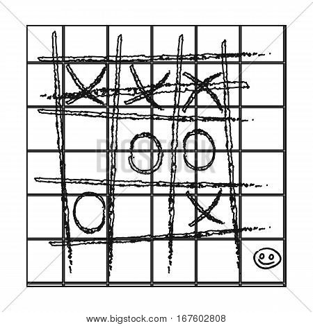 Tic-tac-toe icon in outline style isolated on white background. Board games symbol vector illustration. - stock vector