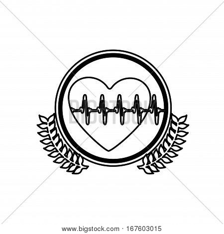 monochrome circle with olive branches and heart with line vital sign vector illustration