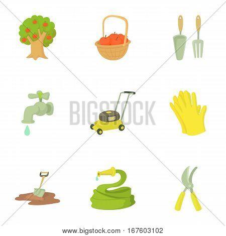 Garden maintenance icons set. Cartoon illustration of 9 garden maintenance vector icons for web