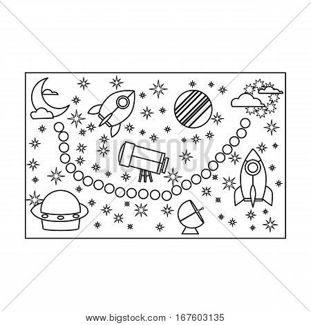 Board game for children icon in outline style isolated on white background. Board games symbol vector illustration. - stock vector