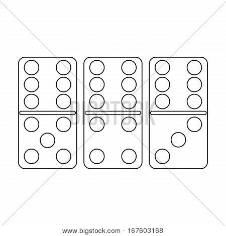 Domino icon in outline style isolated on white background. Board games symbol vector illustration. - stock vector