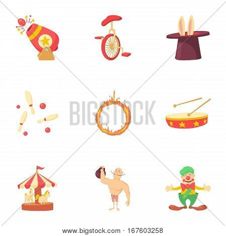 Concert in circus icons set. Cartoon illustration of 9 concert in circus vector icons for web