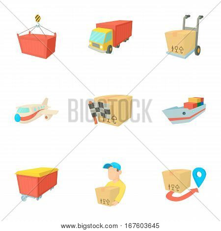 Shipment icons set. Cartoon illustration of 9 shipment vector icons for web