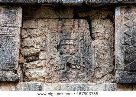 Ancient Mayan Murals On The Venus Platform At Chichen Itza