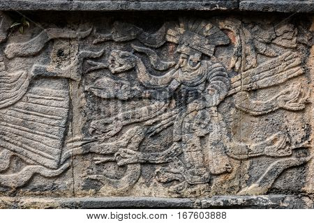 Ancient Mayan Mural Depicting A Warrior Holding Arrows