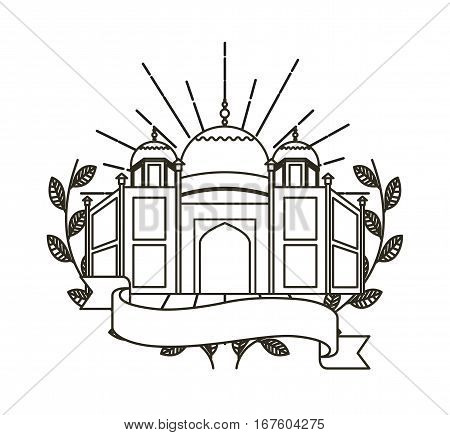 taj mahal icon with decorative wreath of leaves and ribbon over white background. vector illustration