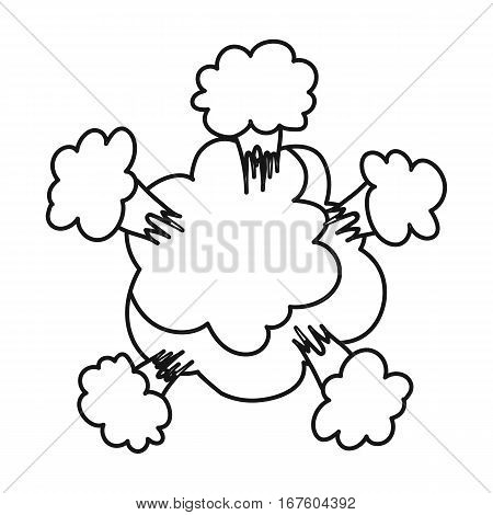 Explosion icon in outline design isolated on white background. Explosions symbol stock vector illustration. - stock vector