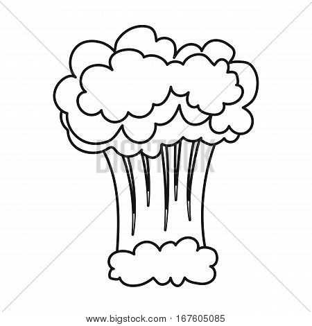 Nuclear explosion icon in outline design isolated on white background. Explosions symbol stock vector illustration. - stock vector