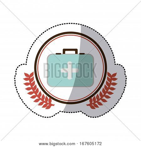 color sticker with circle with first aid kit with symbol of cross with olive branches vector illustration