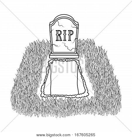 Grave icon in outline design isolated on white background. Funeral ceremony symbol stock vector illustration. - stock vector