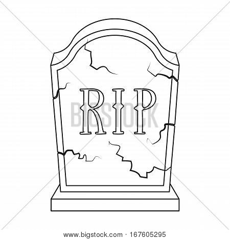Headstone icon in outline design isolated on white background. Funeral ceremony symbol stock vector illustration. - stock vector