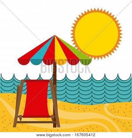 parasol and chair at the beach. colorful design. summer vacations concept. vector illustration