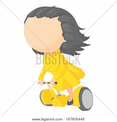 Girl on segway icon. Cartoon illustration of girl on segway vector icon for web