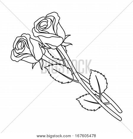 Two roses icon in outline design isolated on white background. Funeral ceremony symbol stock vector illustration. - stock vector
