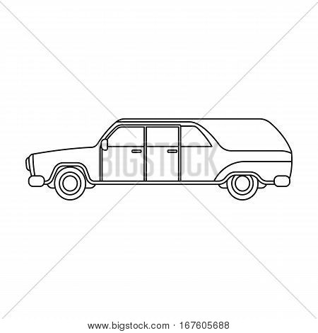 Hearse icon in outline design isolated on white background. Funeral ceremony symbol stock vector illustration. - stock vector