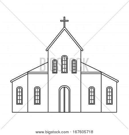 Church icon in outline design isolated on white background. Funeral ceremony symbol stock vector illustration. - stock vector