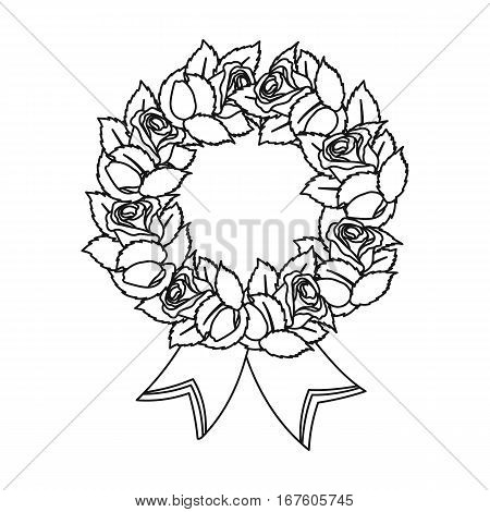 Funeral wreath icon in outline design isolated on white background. Funeral ceremony symbol stock vector illustration. - stock vector