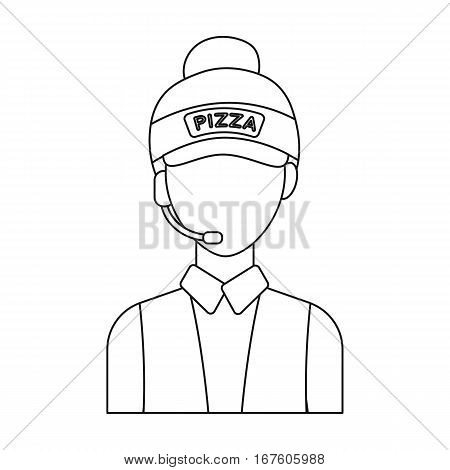 Saleswoman icon in outline style isolated on white background. Pizza and pizzeria symbol vector illustration. - stock vector