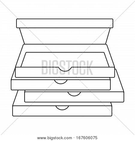 Pizza boxes icon in outline style isolated on white background. Pizza and pizzeria symbol vector illustration. - stock vector