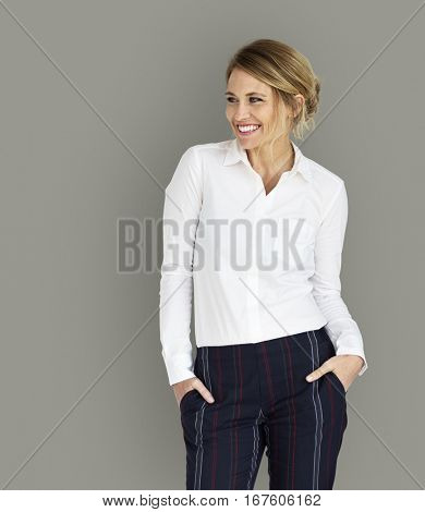 Caucasian Business Woman Cheerful Concept