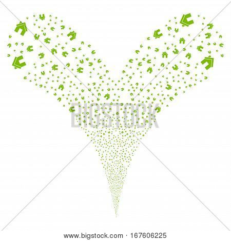 Home fireworks stream. Vector illustration style is flat eco green iconic symbols on a white background. Object double fountain done from random pictograms.