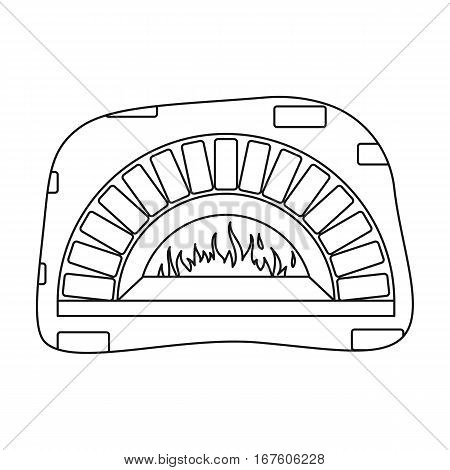Wood-fired oven icon in outline style isolated on white background. Pizza and pizzeria symbol vector illustration. - stock vector