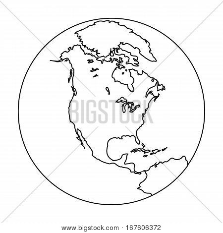 Earth icon in outline design isolated on white background. Planets symbol stock vector illustration. - stock vector