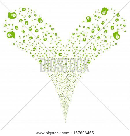 Intellect Bulb fireworks stream. Vector illustration style is flat eco green iconic symbols on a white background. Object double fountain done from random symbols.