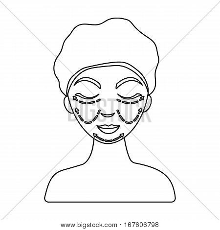 Cosmetic plastic surgery icon in outline style isolated on white background. Skin care symbol vector illustration. - stock vector