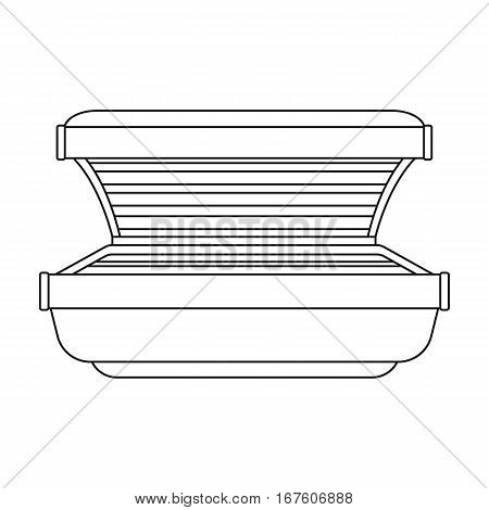 Tanning bed icon in outline style isolated on white background. Skin care symbol vector illustration. - stock vector
