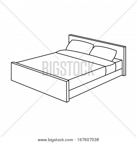 Bed icon in outline design isolated on white background. Sleep and rest symbol stock vector illustration. - stock vector