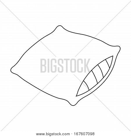 Pillow icon in outline design isolated on white background. Sleep and rest symbol stock vector illustration. - stock vector