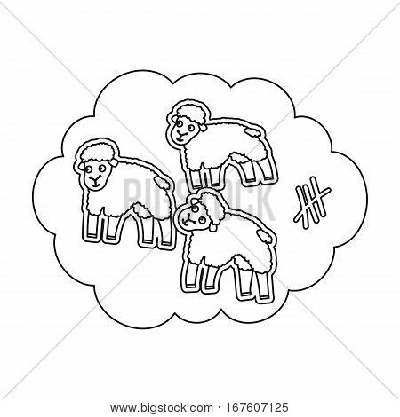 Count sheep icon in outline design isolated on white background. Sleep and rest symbol stock vector illustration. - stock vector