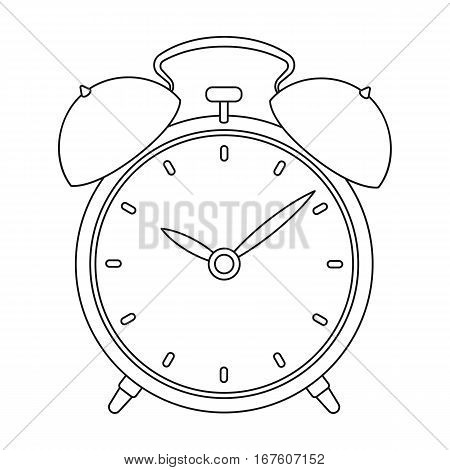 Bedside clock icon in outline design isolated on white background. Sleep and rest symbol stock vector illustration. - stock vector