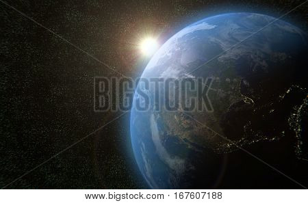 earth planet space and sun globe cosmos universe 3D illustration