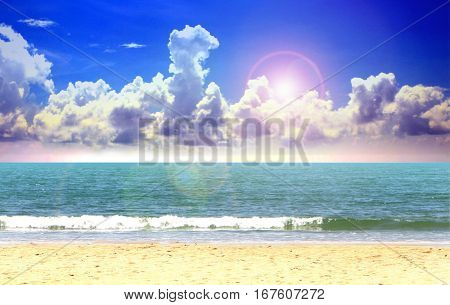 Open blue sea and cloudy sky with sunlight