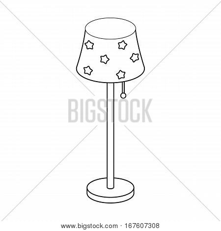 Floor lamp icon in outline design isolated on white background. Sleep and rest symbol stock vector illustration. - stock vector