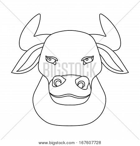 Head of bull icon in outline design isolated on white background. Spain country symbol stock vector illustration. - stock vector