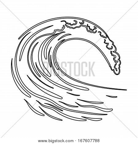 Wave icon in outline design isolated on white background. Surfing symbol stock vector illustration. - stock vector