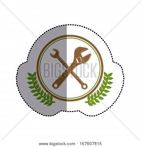 color sticker circle with crossed wrenches and olive branches and middle shadow vector illustration
