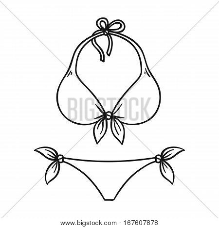 Bikini icon in outline design isolated on white background. Surfing symbol stock vector illustration. - stock vector