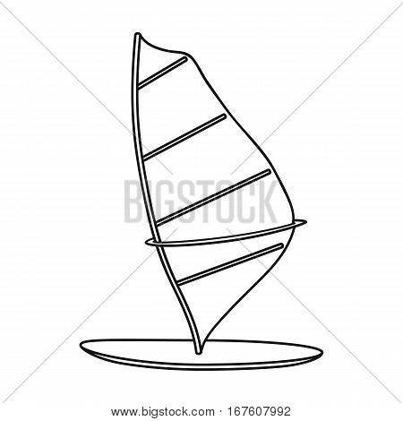 Windsurf board icon in outline design isolated on white background. Surfing symbol stock vector illustration. - stock vector