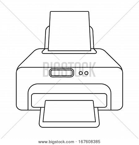 Printer icon in outline style isolated on white background. Typography symbol vector illustration. - stock vector