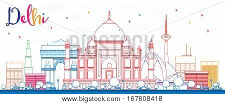 Outline Delhi Skyline with Color Buildings. Business Travel and Tourism Concept with Historic Buildings. Image for Presentation Banner Placard and Web Site.