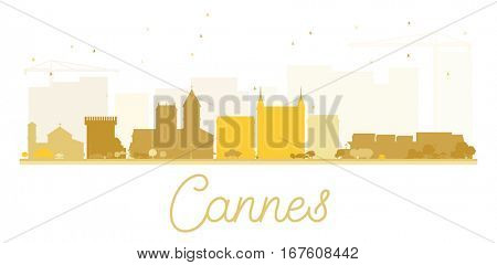 Cannes City skyline golden silhouette. Simple flat concept for tourism presentation, banner, placard or web site. Business travel concept. Cityscape with landmarks