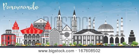Paramaribo Skyline with Gray Buildings and Blue Sky. Business Travel and Tourism Concept with Modern Architecture. Image for Presentation Banner Placard and Web Site.